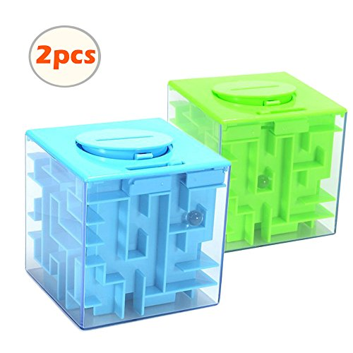 Ohequbao Money 3D Maze Puzzle Box - A Fun Unique Way to Give Gifts for Kids and Adults as Birthday Christmas Gifts, Blue and Green (2 PCS) (Blue and green) (Halloween Fire Room Escape Game)