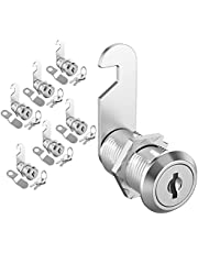 "inBovoga 6 Pack Upgrade Cabinet Furniture Locks Set, Keyed Alike Cam Locks, Secure File Drawer Kitchen Cabinets Letter Boxes Tool Lock Replacement Lock Hardware, Zinc Alloy (1-1/8"" Cam Locks)"