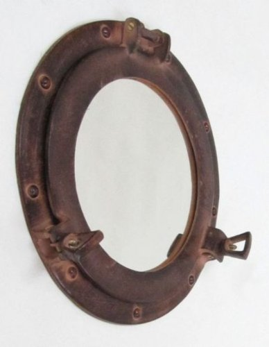 Aluminum Porthole Mirror 12inch W/ Antique Finish - Nautical (Porthole Mirrors)