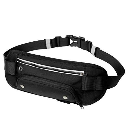 Running Belt,Slim Waist Pouch Fitness Workout Belt Sport Waist Outdoor Waist Pouch Running Belt Waist Bag Pockets Bag (Black)