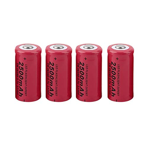 4 Packs Button Top Batteries High-Capacity 3.7V 2500mAh 16340 Lithium Rechargeable Battery for LED Lights/Toys/MP3/TV Remote Controls/Alarm Clocks/Flashlight Torch, not aa Battery, not Flat Top (Microtek Ups Battery 12v 7-2 Ah Price)