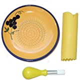 Cooks Innovations Ceramic Grater Plate Set - Yellow with Blue - 3-piece set includes Grater, silicone garlic peeler and kitchen gathering brush.