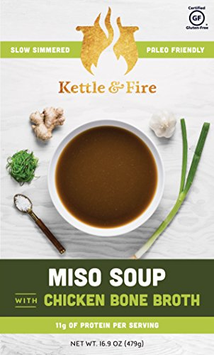 Organic Japanense Miso Soup with Collagen-Rich Chicken Bone Broth - Leaky Gut & Digestive Friendly Nutrition - Instant Boxed Soup On The Go - Gluten Free w 11 grams of Protein - Soups To Go(2 Pack)