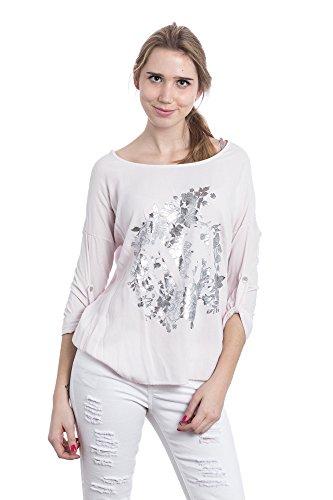 Abbino 822 Shirts Tops para Mujeres - Hecho en ITALIA - 4 Colores - Entretiempo Primavera Verano Otoño Mujeres Femeninas Elegantes Casual Vintage Impresión Moderno Fiesta Rebajas - Talla única Rosa
