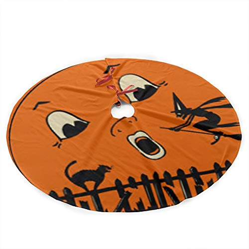 Qinf Halloween Full Moon Witch Christmas Tree Skirt 35.5