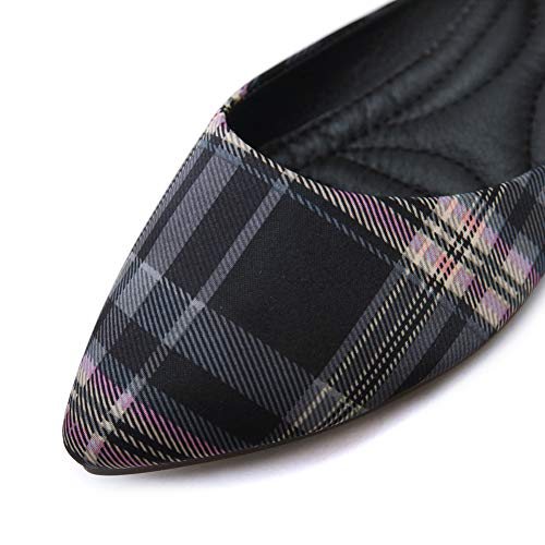 con Negro Zapatillas de Mujer Plana de Zapatillas AGOWOO Afeitar Punta de Hqx6xpA