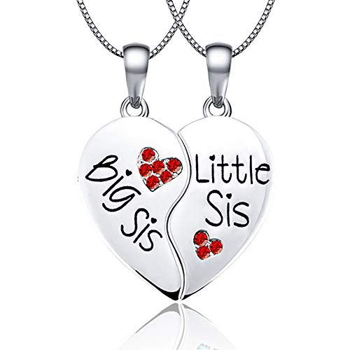 (KINGSIN Sisters Necklaces for 2 Big Sis Little Lil Sis Pendant Twin Sorority Heart Halves)