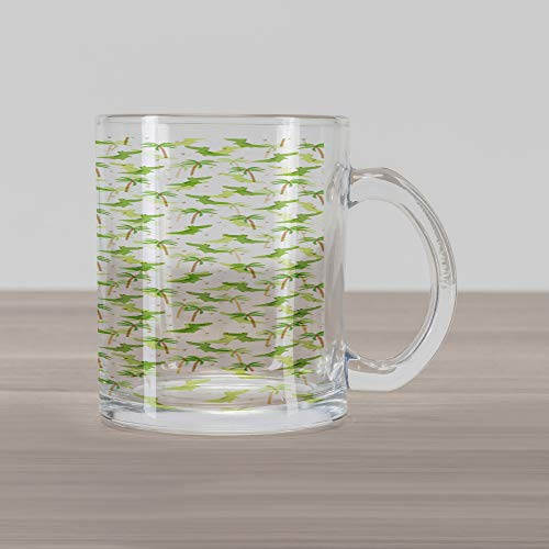 (Lunarable Alligator Glass Mug, Cartoon Crocodiles with Tropic Palm Trees Nursery Design Composition, Printed Clear Glass Coffee Mug Cup for Beverages Water Tea Drinks, Lime Green White Camel )