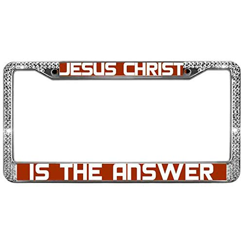 paipaidiedie Jesus Christ Glitter Bling License Plate Frame is The Answer License Plate Frame Chrome 2 Holes Waterproof Cool Rhinestones Crystal License Plate Frame