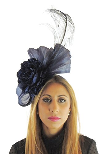 Hats By Cressida Silk Sinamay & Silk Flower Elegant Ladies Ascot Wedding Fascinator Navy by Hats By Cressida