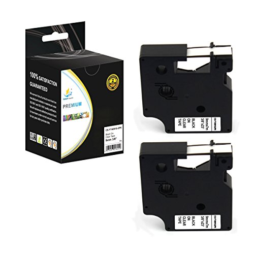 Catch Supplies 2 Pack Replacement Dymo D1 40910 Black on Clear 3/8 Inch (9mm) Label Tape - Length 23ft (7m) - For use with the Dymo LabelManager, LabelPoint and LabelWriter Label Printers by Catch Supplies