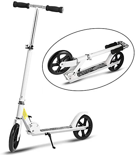 WeSkate Scooter for Adults Teens Adjustable Foldable Dual Suspension Shoulder Strap 8 inches Big Wheels Rear Fender Brake, Aluminium Alloy Commuter Scooter for Kids Age 12 Up, Ride Smooth