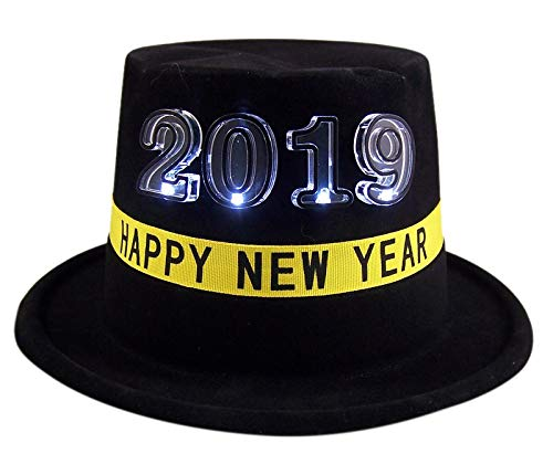 - Black Happy New Year 2019 LED Light Up Top Hat