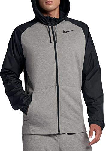 NIKE Men's Dry Utility Core Hooded Jacket (Dk Grey Heather/Black, Large)