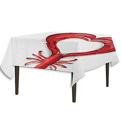 - kangkaishi Sea Animals Detachable Washable Tablecloth A Boiled Lobster Shaped as A Heart Symbol Seafood Love Valentines Restaurant Menu Art Great for Parties Festivals etc. W50.4 x L50.4 Inch Red