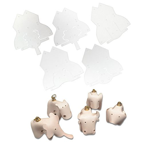 AngelaKerry 5 X Mix Style Plastic PVC Frosted Module Template Board for Animals Key Buckle Without Leather (Elephant, Hippo, Cow, Wolf, (Mix Module)