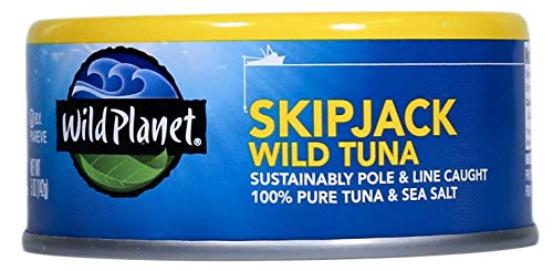 - Wild Planet Skipjack Wild Tuna, Sea Salt, Keto and Paleo, 3rd Party Mercury Tested, 5 Ounce (Pack of 12)