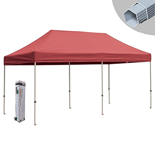Eurmax Canopy Premium Display Shade Kit - Commercial Canopy Pop up Tent with Roller Bag (Red, 10x20)