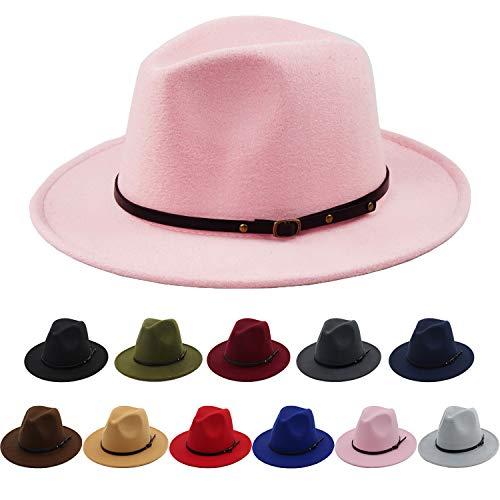 Pink Hat Fedora (Women Wide Brim Warm Wool Fedora Hat Retro Style Belt Panama Hat)