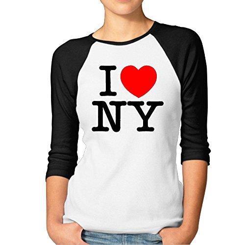 ZULA Women's Best I Love NY New York Logo 3/4-Sleeve Raglan Tshirt