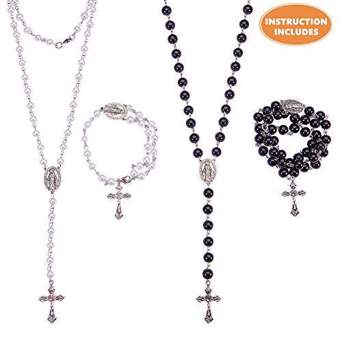 SUNNYCLUE DIY 2 Set Rosary Making Kit Pearl Bead Rosary Necklace DIY Kit - 2 Strands 6mm 8mm Handmade Pearl Beads Chains, Crucifix, Rosary Centerpiece, Jump Rings, Lobster Claw Clasps, Instruction