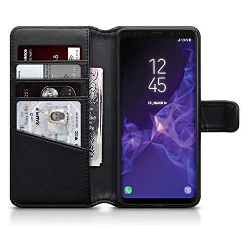 (Olixar Samsung Galaxy S9 Wallet Case - Genuine Leather - Slim Protective Cover - Card Storage Slots and Built in Media Viewing Stand - Wireless Charging Compatible)