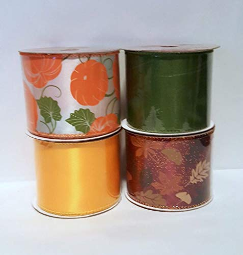 Wired Fall Harvest Ribbon Assortment- Set of 4 by Nikki's Knick Knacks