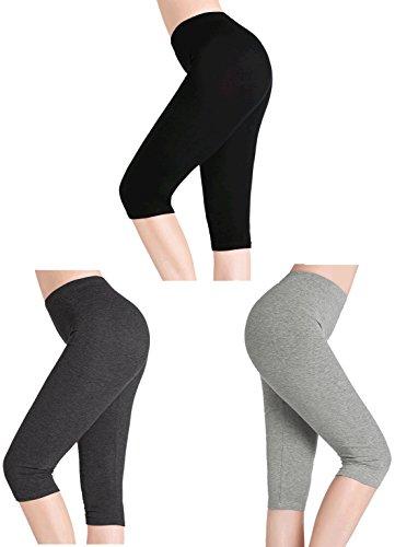 CnlanRow Womens Under Skirt Short Shorts Ultra Soft Stretch Capri Cropped Leggings