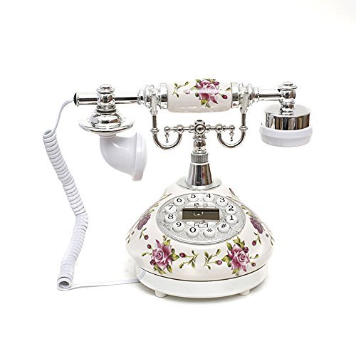 LNC White Rose Flower Ceramic LNC Retro Vintage Antique Style Push Button Dial Desk Telephone Phone Home Living Room Decor