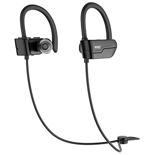 WRZ S3 Bluetooth Wireless Headphones Running Earbuds Waterproof Sports Earphones with Microphone 8-9 Hours Playtime Workout Gym Cordless Headsets for Cell Phone (Black)