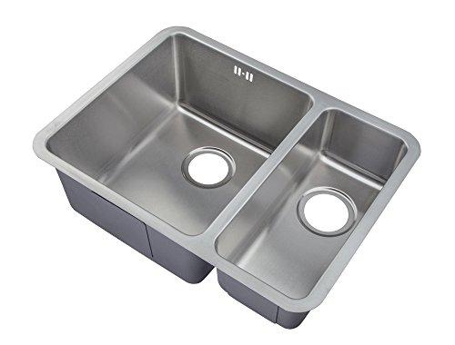 Doppel 2 Becken Reste Edelstahl Unterbau Küche Spüle links orientiert (D03 L)
