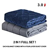 15lbs Weighted Blanket Adult, 60x80 Weighted Blanket with Removable Cover Fits Full or