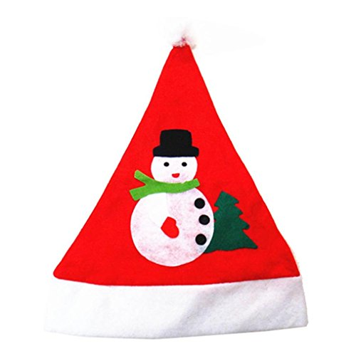 Leoy88 Applique Snowman Red Hat Cozy Soft Warm Adult Santa Headgear (A)