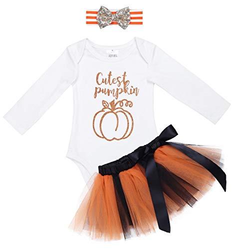 YiZYiF Baby Girl's 1st Halloween Costume Tutu Dress Newborn Princess Outfit Set Ivory 0-3 Months -