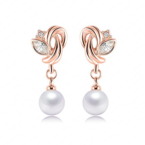 [Victoria Echo Womens 18k Gold Plated Freshwater Pearl Dangle Stud Earring Accented with Zircon] (Flower Zombie Costumes For Girls)