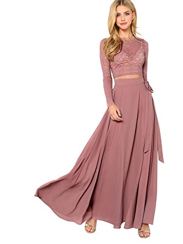 Floerns Women's Lace Chiffon Crop Top and Split Long Skirt Set Pink L