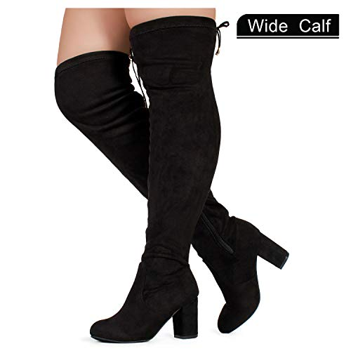 RF ROOM OF FASHION Women's Wide Calf Over The Knee Chunky Heel Stretch Boots Black SU (7.5)