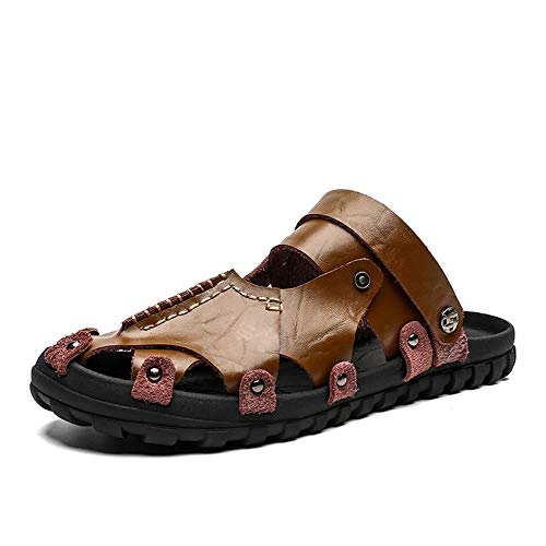 rouge marron 39 EU Chaussures JUJIANFU-mode pour Hommes Mode d'été décontractée pour Hommes Pantoufles à Double Usage Confortables de Couleur Unie légères et Solides
