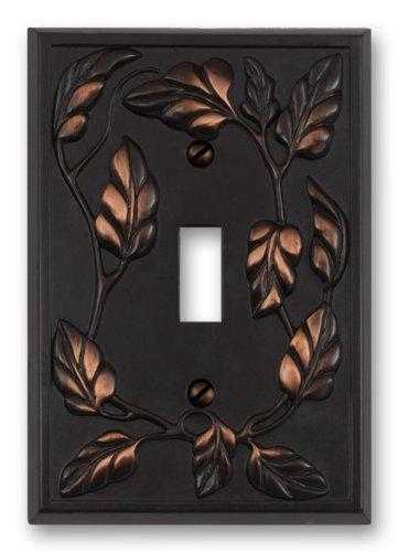 Amerelle 85TVB Leaf Toggle Wallplate, Aged Bronze