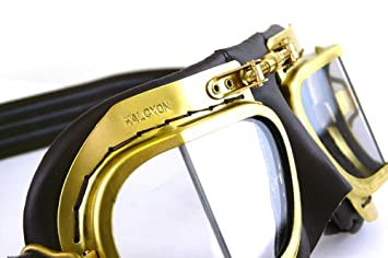 HDM Halcyon Mark 49 Antique Style Brass Goggles Black Leather, Standard Real Leather