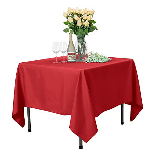 VEEYOO Square Tablecloth 100% Polyester Table Cloth for Indoor and Outdoor Table - Solid Dinner Tablecloth for Wedding Party Restaurant Coffee Shop (Red, 85x85)