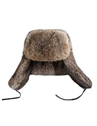DTDYG18 Men's Real Rabbit Fur Bomber Hat Winter Warm Thick Hunting Hat Outdoor