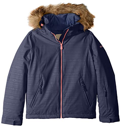 Tricot Pant Brushed Girls - Roxy Little American Pie Girl Embossed Snow Jacket, Crown Blue_Indie Stripes, 8/S
