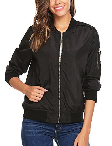 eeve Quilted Zip Up Jacket Short Bomber Jacket (Bomber Black Apparel)