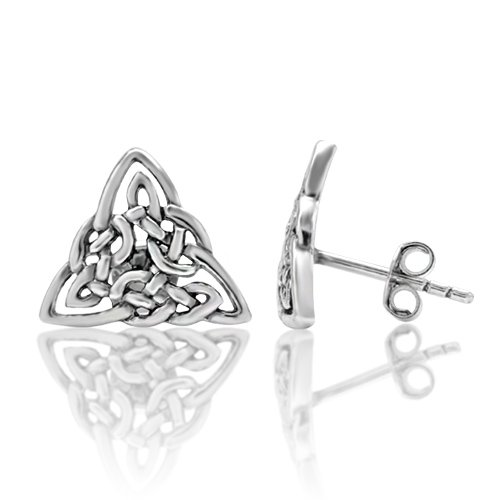 Celtic Silver Stud (925 Sterling Silver Small Celtic Trinity Triangle Knot 13 mm Post Stud)
