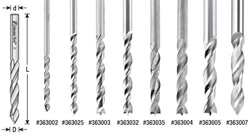 Amana Tool 363002 Solid Carbide V-Point Drill Bit R//H 2mm D x 49mm Long x 2mm SHK