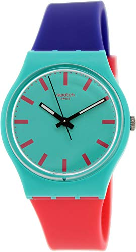 Swatch Shunbukin Teal Dial Plastic Silicone Quartz Ladies Watch GG215 (Mens Swatch Watch Silicone)
