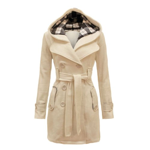 Envy Boutique Women's Military Button Hooded Fleece Belted Jacket ($)