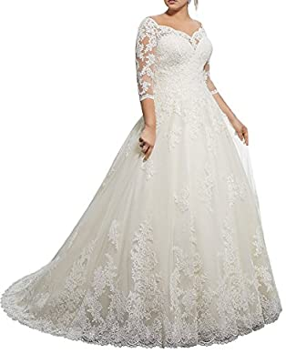 Wendybridal Women's Lace Ball Gown Wedding Bridal Dresses Long Sleeve Off Shoulder V Neck