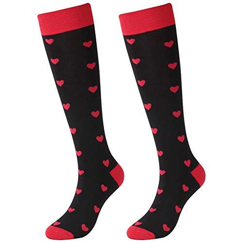 Heart Design Socks,SUTTOS Men's Knee High Fun Black Red Spade Heart Black Red Charged Cotton Warm Long Tube Casual Dress Socks Gift Socks Heart Wedding Groom Groomsmen Party Socks - Hearts Knee High Socks